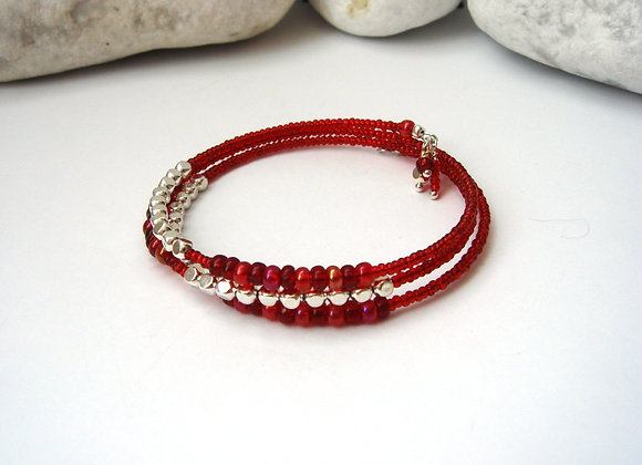 Red beaded, Silver Cube Bangle/bracelet