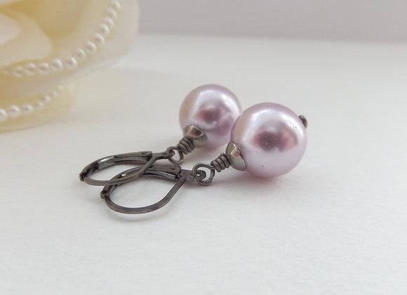Big Glass Pearl Earrings, Pink Pearl Drops, Gunmetal Earrings