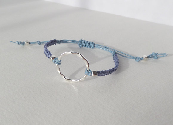 Silver Open Circle Bracelet, Blue Cord Macrame Bracelet