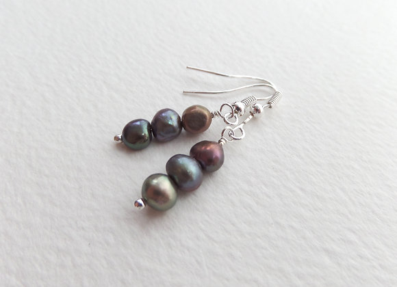 Freshwater Pearl Silver Earrings, Pearl Triple Stacks