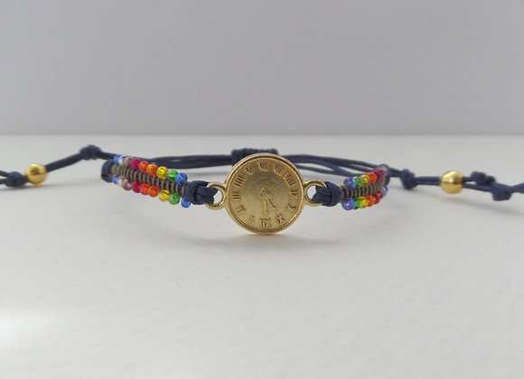 Gold Clock Face Bracelet, Gold and Navy Blue Cotton Cord
