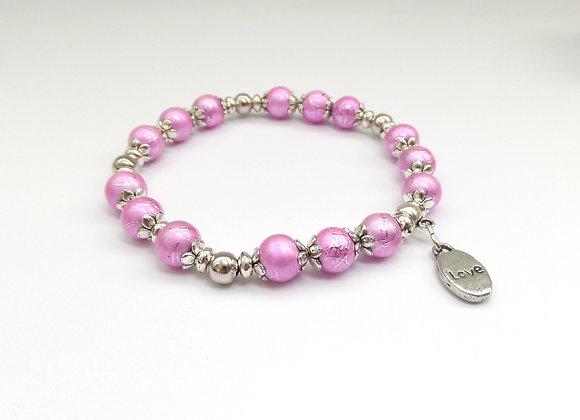 Bright Pink Stretch Bracelet, Antique Silver and Elastic Bracelet