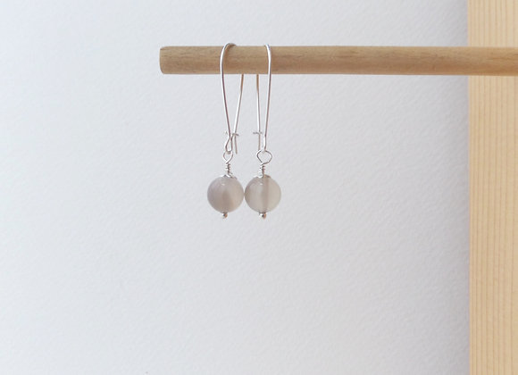 Stone Earrings, Soft Brown Dangle Silver Kidney Earrings