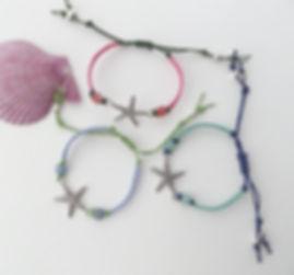 starfish macrame bracelets, no ditto jewellery, casual beach jewellery,