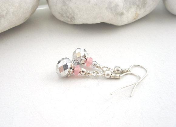 Grey Crystal Earrings, Quartz Dangle Silver Drops