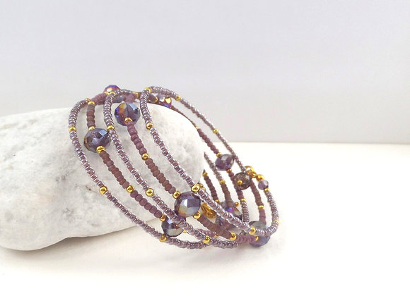 Purple Crystal and Mink beaded, Gold Bangle/bracelet