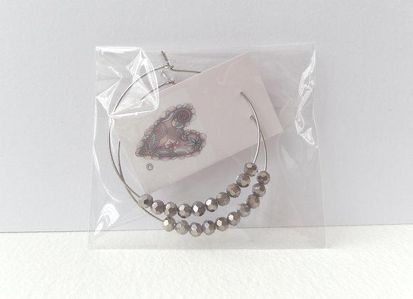Silvery-Grey Beaded Hoop Silver Earrings.