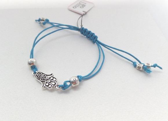 Hamsa Hand Bracelet, Turquoise Cord Bracelet, Tibetan Silver