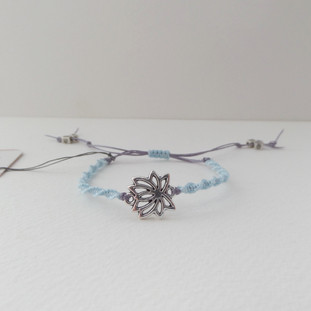 Blue lilac grey macrame bracelet