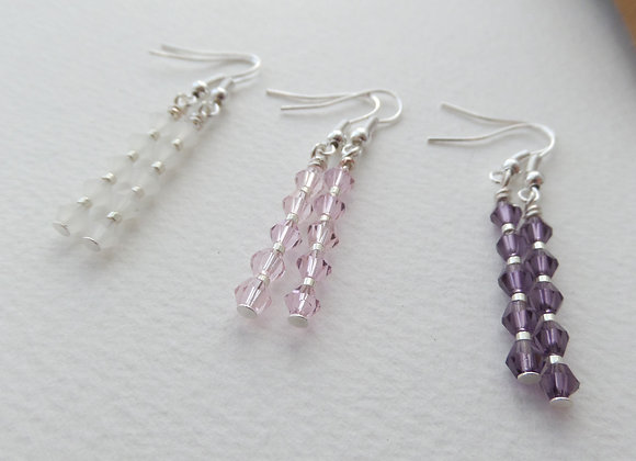 Crystal Stack Earrings, Crystal Silver Dangle Earrings