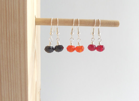 Colour Pop Crystal Earrings, Dangle Silver Earrings