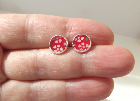 Red Silver Studs, Ditzy floral, Small Round Stud Earrings, 8mm earrings