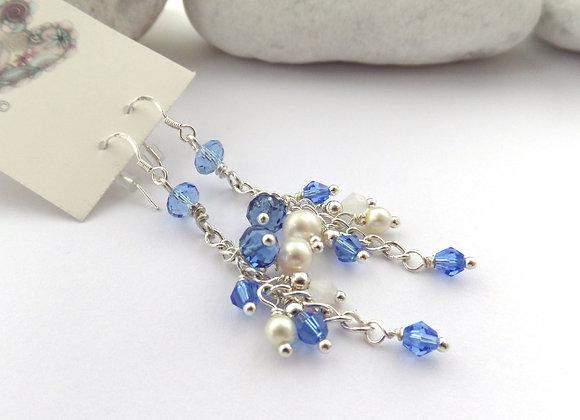 Sapphire Blue Earrings, Blue Crystal, Pearl, Long Chain, Silver Dangle Earrings