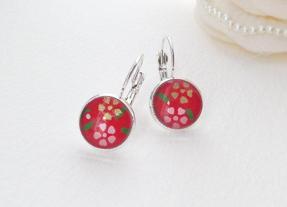 Red Floral Japanese, Silver Earrings, hinged dangle earrings