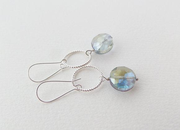 Large Crystal Earrings, Silver Kidney Hook Silver Earrings