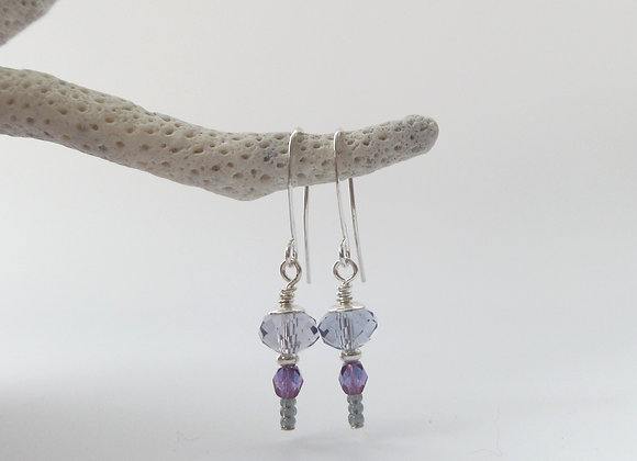 Ink Blue and Purple Silver Earrings.