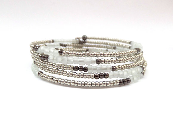 Silver Grey beaded, Silver Bangle/bracelet