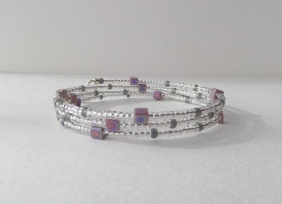 Modern Lilac Bracelet, Slim Memory Bangle