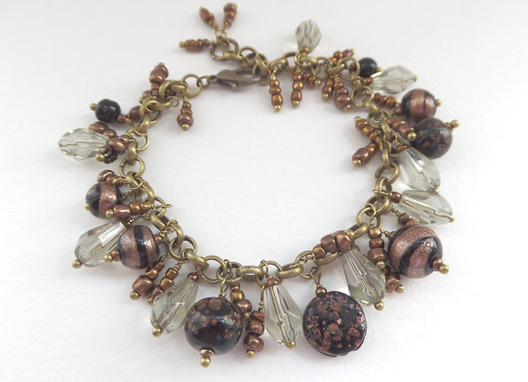Black and Brown Bracelet, Antique Bronze Beaded Bracelet