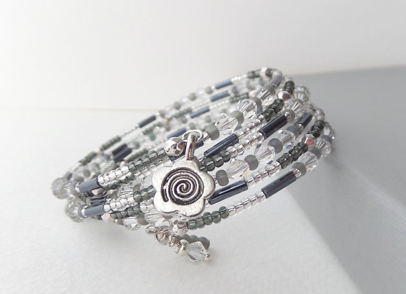 Grey and Clear Crystal Bangle