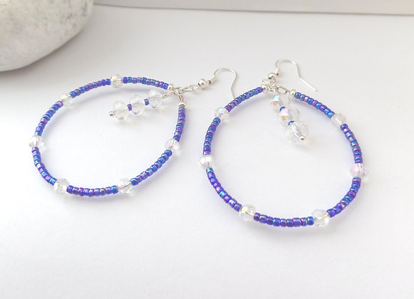 Peacock Blue Beaded Hoop Crystal and Silver Earrings.