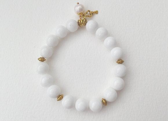 White Bracelet, Antique Gold and Agate Stone Elastic Bracelet