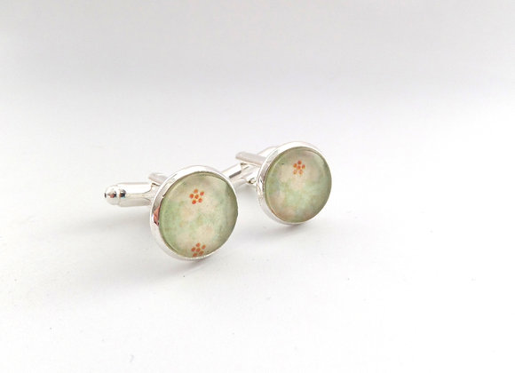 Silver Cuff Links, Vintage looking cuff links, choice of colour