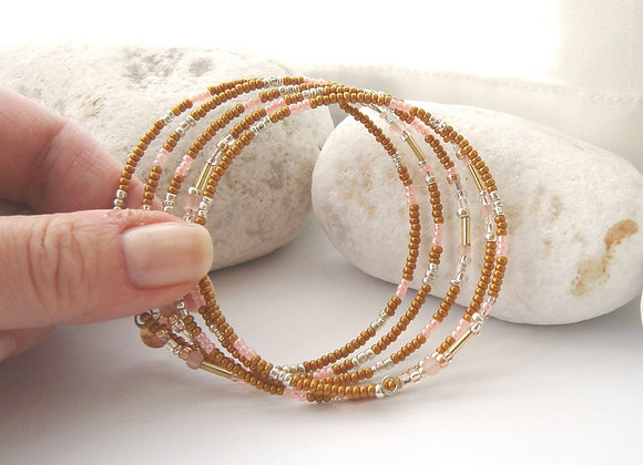 Slim Caramel and Peach And Silver Bangle Bracelet