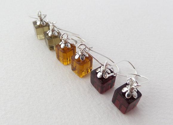 Autumn Cube Earrings, Silver Kidney Hook, Silver Earrings