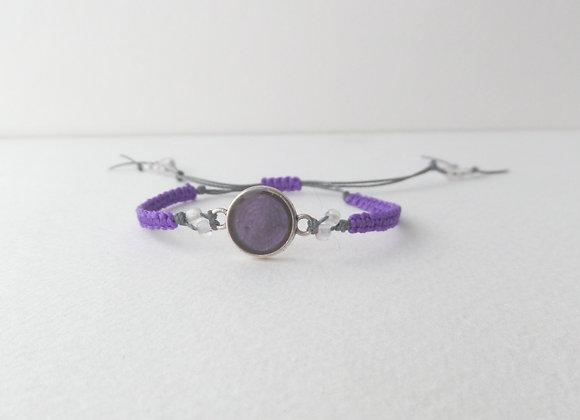 Shimmer Purple Macrame Bracelet, Grey Cord Bracelet