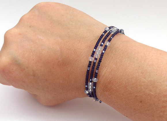 Moonstone Crystal Blue Bracelet, Navy Blue Slim Memory Bangle