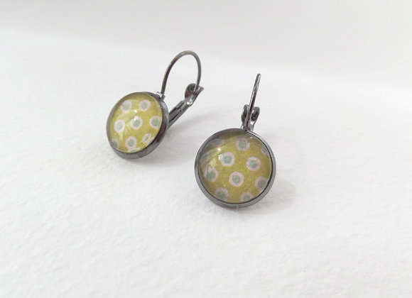 Chartreuse Earrings, Polka Dot Gunmetal Dangle Earrings