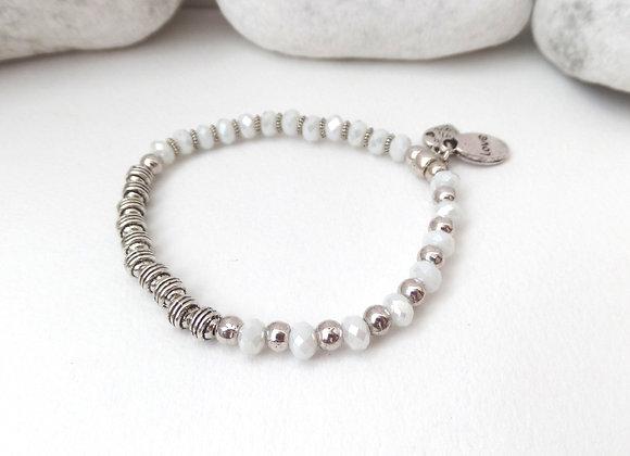 Tibetan Silver Stretch Bracelet, Alabaster Crystal Elastic Bracelet
