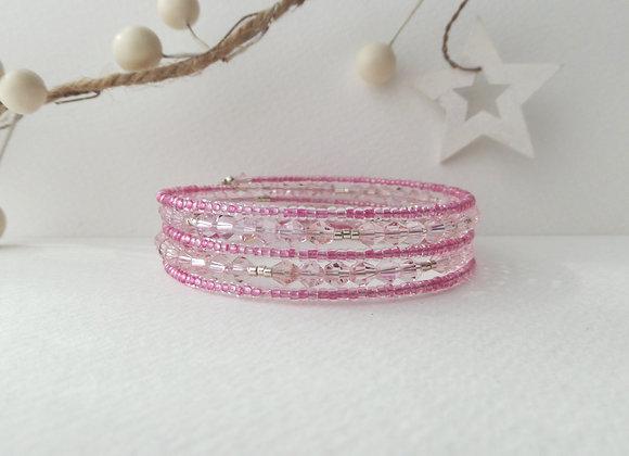 Pink Crystal, Pink and Silver Memory Bangle