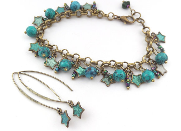 Turquoise Bracelet, Antique Bronze Beaded Clasp Bracelet/Set