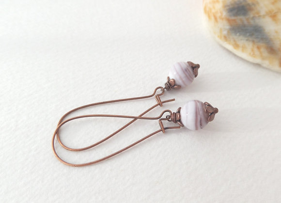 Antique Copper Kidney Wire Mauve White Bead Earrings
