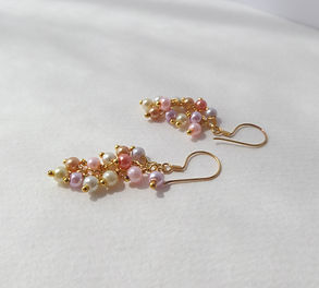gold and pearl cluster earrings