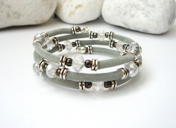 Clear Crystal, Velour Silver Memory Bangle