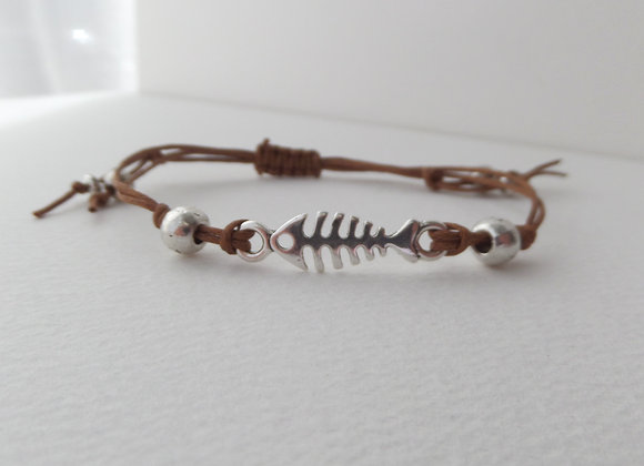 Silver Fish Bone Bracelet, Macrame Bracelet, Brown Cotton Cord Bracelet,