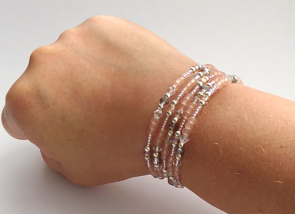 Peach and Grey Bracelet, Silver Memory Bangle Set