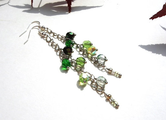 Long Green Earrings, Dark to Light Green and Silver Dangle Earrings
