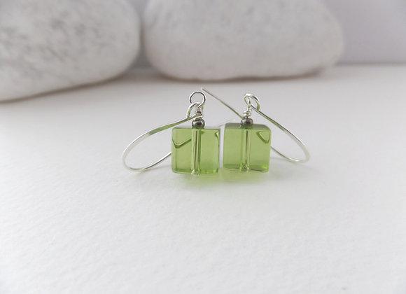 Green Cube Earrings, Crystal Dangle Silver Earrings