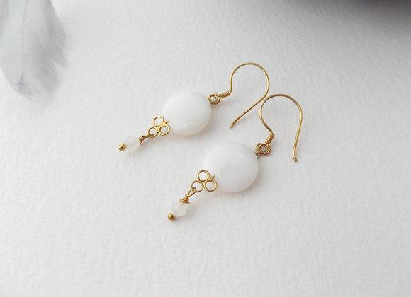 Mother Of Pearl Gold Earrings, Gold Vermeil Vintage Dangle Earrings