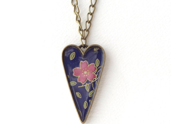 Antique Bronze Folk Heart Necklace, Blue and Pink
