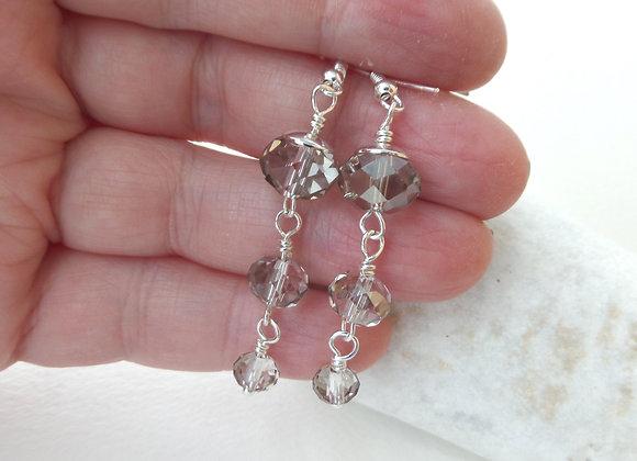 Black Diamond Earrings, Graduated Crystal Sterling Silver Earrings