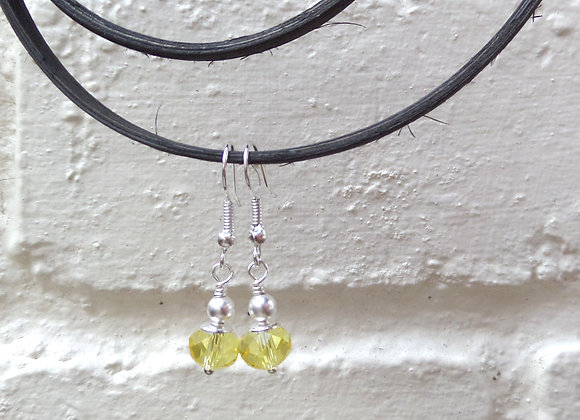 Yellow Crystal Silver Earrings, Bright Dangle Earrings