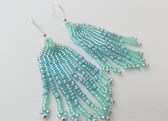 Long Aqua and Turquoise Bead Woven Fringe Dangle Silver Earrings