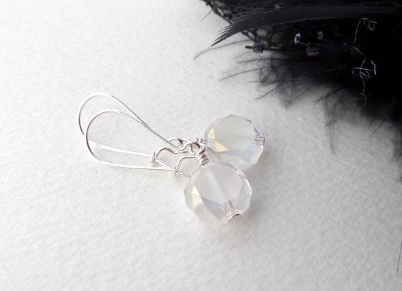 Crystal Earrings, Silver Kidney Hook Silver Earrings