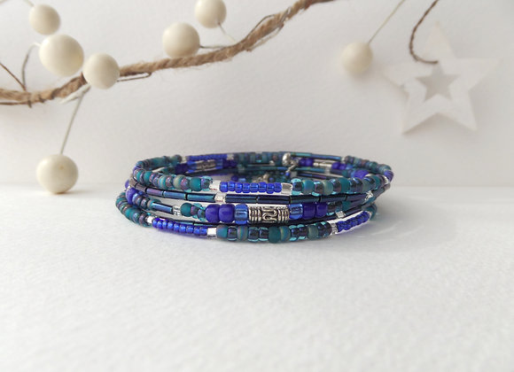 Tibetan Silver Bangle/Bracelet, Teal green and Blue bangle