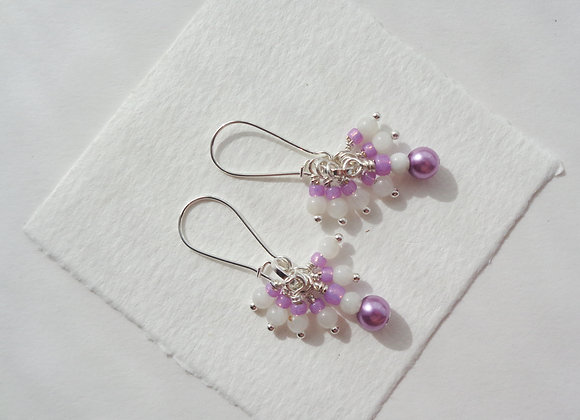 White Stone and Pink Pearl Earrings, Silver Kidney Wire Earrings